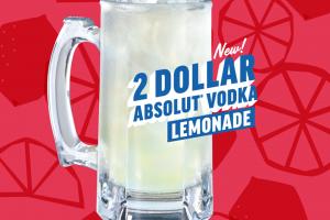 Applebee's: $2 Absolut vodka lemonade every day in March